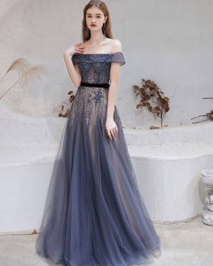 Beading Off the Shoulder Navy Blue Evening Dress HG611017