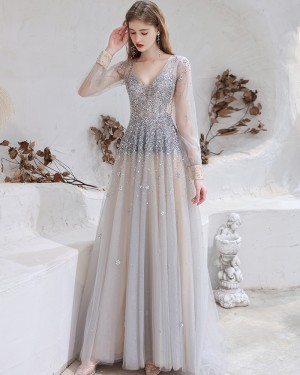 Beading V-neck Tulle Dusty Blue Evening Dress with Long Sleeves HG661014