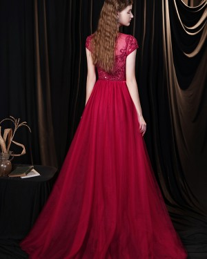Beading Jewel Neck Red Tulle Evening Dress with Short Sleeves HG691023