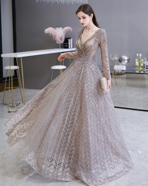 Sparkle Sequin V-neck Lace Evening Dress with Long Sleeves HG69448