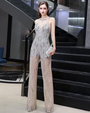 Unique Jewel Beading Sequin Grey & Champagne Jumpsuit HG73445