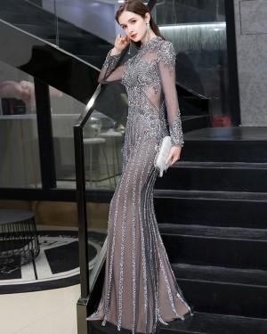Elegant Beading High Neck Grey Evening Dress with Long Sleeves HG86443