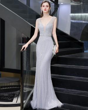 V-neck Beading Silver Mermaid Evening Dress HG92446