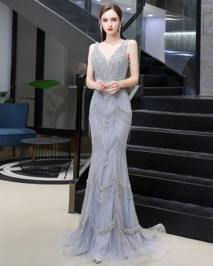 Silver Beading V-neck Mermaid Evening Dress with Feather Tippet HG99455
