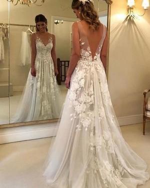 Ivory Pleated V-neck Lace A-line Wedding Dress NWD2100