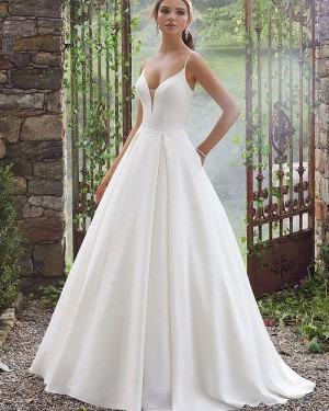 Spaghetti Straps White Simple Pleated Wedding Dress with Pockets NWD2101