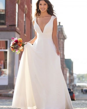 A-line Empire Simple V-neck Ivory Wedding Dress NWD2102