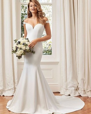 White Simple Off the Shoulder Satin Mermaid Fall Wedding Dress NWD2103