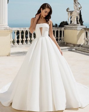 White Pleated Strapless Cutout Satin Ball Gown Wedding Dress NWD2104