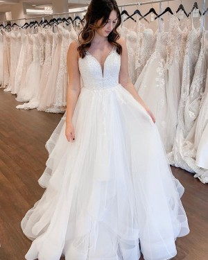 Lace Bodice Pleated V-neck White Sequin Tulle Wedding Dress NWD2105