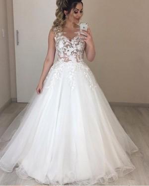 Jewel White Pleated Lace Bodice Tulle Wedding Dress NWD2107