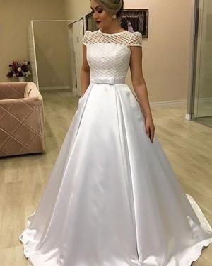Jewel White Satin Lace Bodice Wedding Dress with Pockets NWD2110