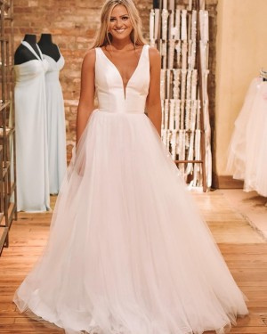 Simple Pleated White Tulle V-neck Wedding Dress NWD2111