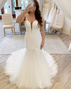 Spaghetti Straps Lace Applique Ivory Mermaid Wedding Dress NWD2112