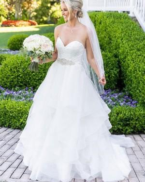 Sweetheart White Ruffled Lace Bodice Wedding Dress NWD2113