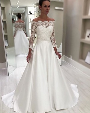 Lace Bodice Off the Shoulder White Wedding Dress with Long Sleeves NWD2114