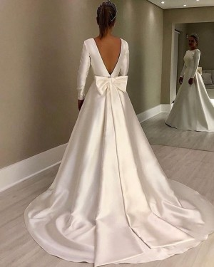 A-line Simple Jewel Satin White Wedding Dress with Long Sleeves NWD2117