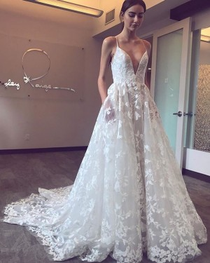 White Lace Pleated Spaghetti Straps A-line Wedding Dress with Pockets NWD2119