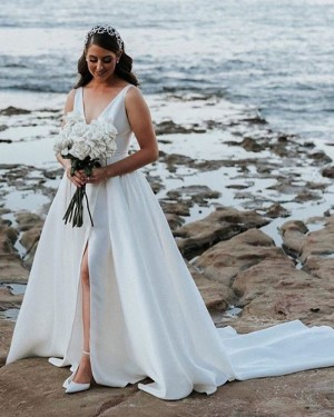 Deep V-neck White Side Slit Pleated Satin Wedding Dress with Pockets NWD2120