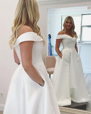 Off the Shoulder A-line White Satin Wedding Dress NWD2121