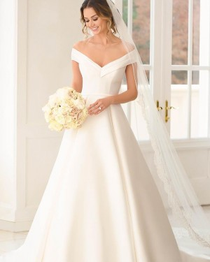 Off the Shoulder A-line White Satin Wedding Dress NWD2121
