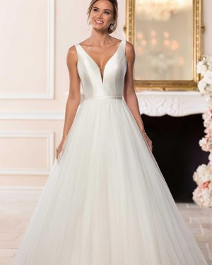 Simple Pleated A-line V-neck Ivory Tulle Wedding Dress NWD2122
