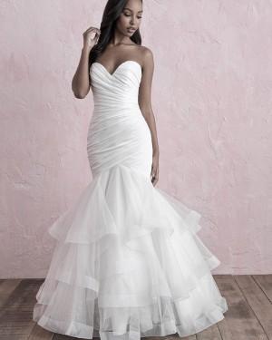Sweetheart Ruffled Mermaid White Wedding Dress NWD2123