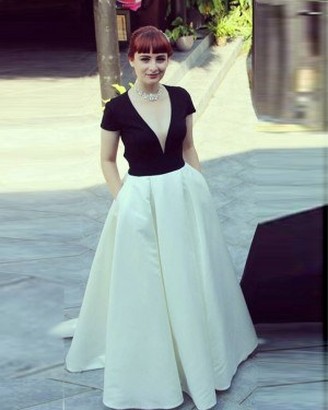 V-neck Satin White and Black Short Sleeved Prom Dress with Pockets PD1622