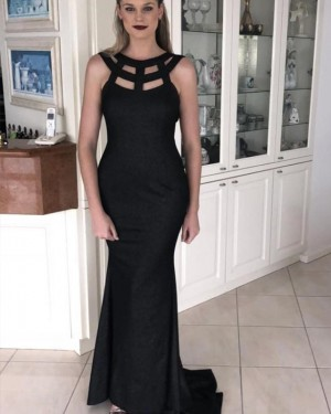 Cutout Black Jewel Neck Mermaid Satin Prom Dress PD1626