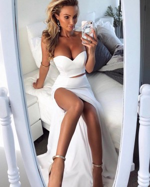 Sweetheart Mermaid Two Piece Prom Dress with Side Slit PD1628