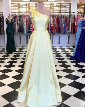 3D Flower One Shoulder Appliqued Yellow Satin Prom Dress PD1629