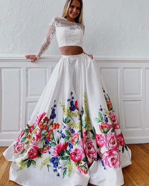 Floral Print Jewel Two Piece Prom Dress with Lace Long Sleeves PD1632
