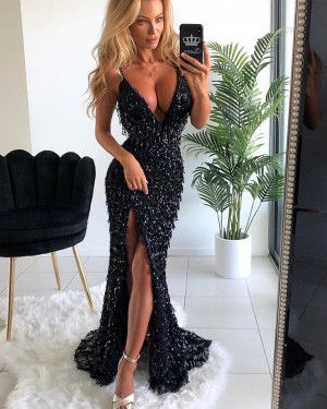 Amazing Sequined Black V-neck Formal Dress with Side Slit PD1633