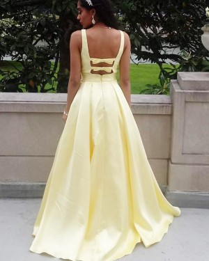 Deep Yellow Satin V-neck Simple Prom Dress with Pockets PD1634