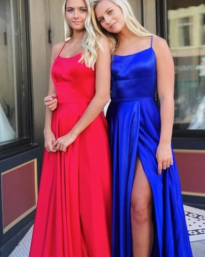Royal Blue Simple Square Neck Satin Prom Dress with Side Slit PD1635