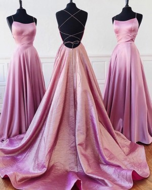 Lavender Pleated Simple Spaghetti Straps A-line Prom Dress PD1636