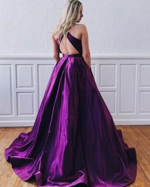 Simple A-line Jewel Purple Satin Pleated Prom Dress PD1637