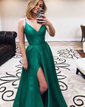 Green Simple Satin Spaghetti Straps Prom Dress with Side Slit PD1638