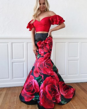 Two Piece Floral Print Off the Shoulder Mermaid Prom Dress PD1639