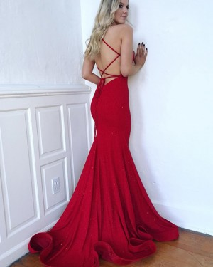 Sparkle Red Spaghetti Straps Mermaid Prom Dress PD1640