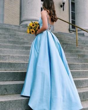 Light Blue Satin Spaghetti Straps Simple Prom Dress PD1641