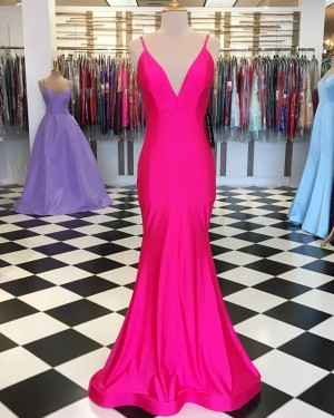 Simple Mermaid Spaghetti Straps Blushing Prom Dress PD1643