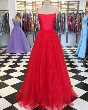 Red Pleated Simple Spaghetti Straps Prom Dress with Tulle Skirt PD1644