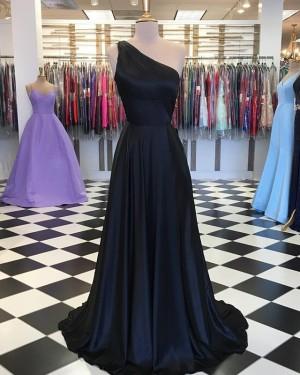 Simple Navy Blue One Shoulder Satin Prom Dress PD1645