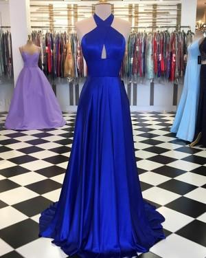Halter Satin Simple Crisscross Royal Blue Pleated Prom Dress PD1647