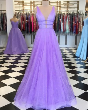 Lavender Beading Tulle Deep V-neck Pleated Prom Dress PD1648