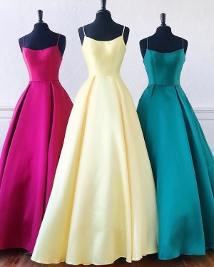 Simple Satin Spaghetti Straps A-line Prom Dress PD1649