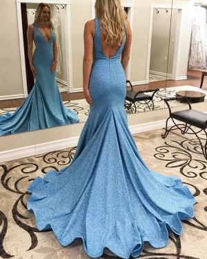 Sparkle Sequin Blue Deep V-neck Mermaid Prom Dress PD1650