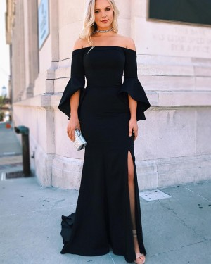 Black Side Slit Off the Shoulder Mermaid Prom Dress with Bell Sleeves PD1652