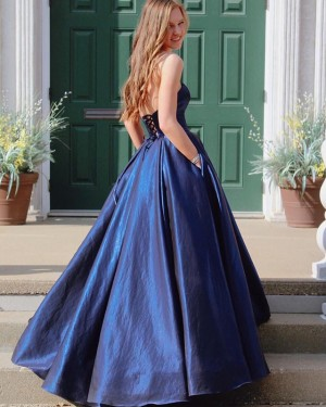 Simple Sweetheart Navy Blue Pleated Prom Dress with Lace Up PD1653